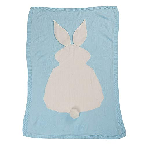 Spring Fever Baby Toddler Knitted Rabbit Bunny Ears Bedding All Season Blanket Blue