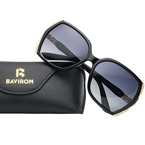 Oversized Polarized Sunglasses for Women Polarized Vintage Luxury Eyewear (Black/Grey) by BAVIRON (Image #1)