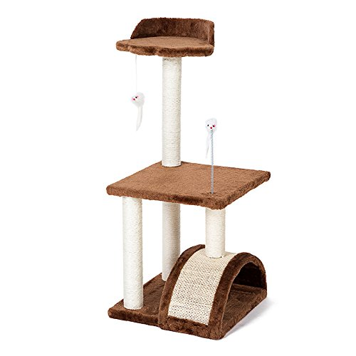PETHOUZZ 3 Layer Luxury Cat Scratching Post Tree & Condos Cat Climbing Frame Cats Play Castle (Brown) by PETHOUZZ