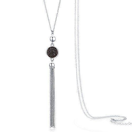 (Jude Jewelers Vintage Long Sweater Necklace Chain Pendant Tassel Bohemian Classical Vintage Style (Black))