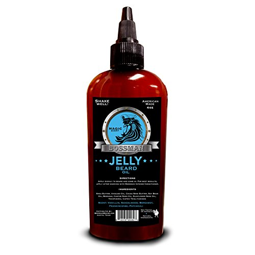 Bossman JELLY Beard Oil (4oz) - World's First Jelly Beard Oil, Bonds to Beard Hair Better than Conventional Oils, 3-in-1 Moisturizing, Taming and Strengthening (Magic Scent) (Citrus Sandalwood Scent)