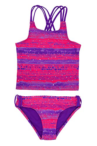 (LAGUNA Girls Shining Royalty Silver Sparkle Tankini Two-Piece Bathing Suit, UPF 50+, Pink/Purple,)