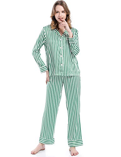 (Serenedelicacy Women's Silky Satin Pajamas Long Sleeve PJ Set (X-Small / 0-2, Stripe Green Ivory))