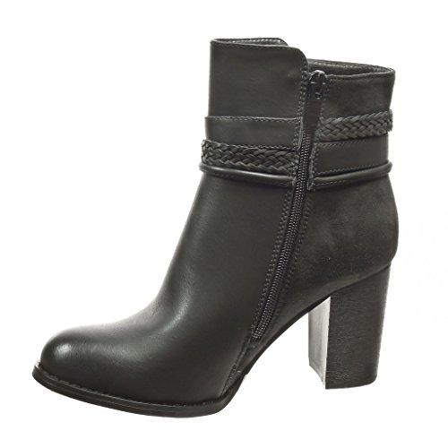 Angkorly - damen Schuhe Stiefeletten - Low boots - String Tanga - Schleife Blockabsatz high heel 8 CM - Schwarz