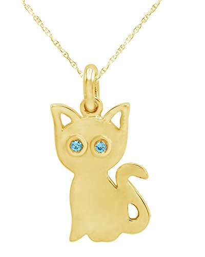 Wishrocks Round Cut Simulated Aquamarine Cat Kitty Charm Pendant Necklace in 14K Yellow Gold Over Sterling Silver