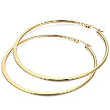 JewelryWe Fashion Women Lady Flat Circle Large Gold Earring Ring Hoop(with gift bag) Stainless Steel Large Hoop 2016 New Year Christmas Valentine's Day Gift
