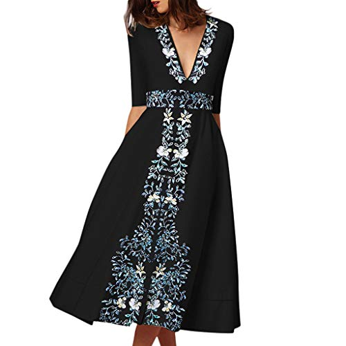 Dressin Women's Vintage Dress Long Sleeve Ball Gown Prom Ladies Printed Evening Party Swing High Waist Dress ()