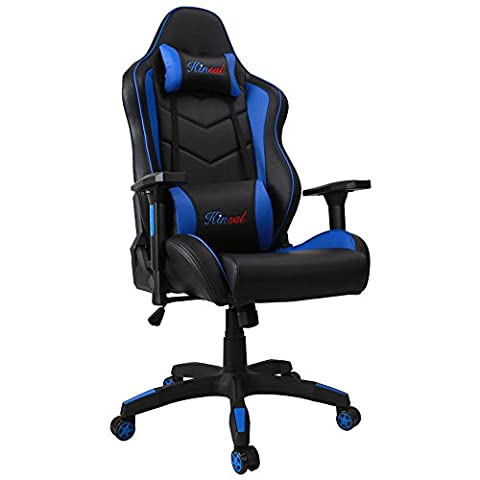 Kinsal Ergonomic Leather High-back Swivel Chair with Headrest and Lumbar Support - Blue (Gamers Chairs For Pc)