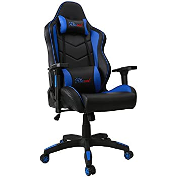[Upgraded to Big and Tall Version] Kinsal Large Size Racing Chair, PC Gaming Chair High-back Computer Office Chair, Ergonomic Chair, Swivel Executive Chair Including Headrest and Lumbar Support (Blue)
