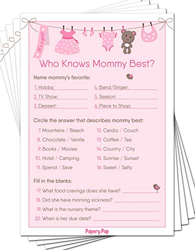 Who Knows Mommy Best Game Cards (Pack of 50) - Baby Shower Games Ideas for Girl - Party Activities Supplies
