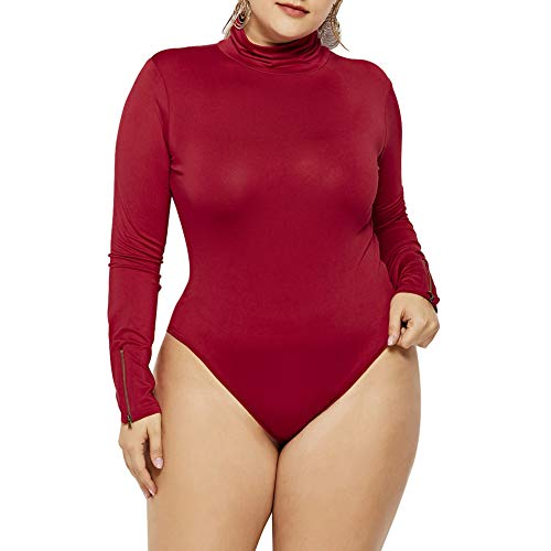IyMoo Women's Sexy Plus Size Turtleneck Long Sleeve Front Zip Leotard Bodysuit Romper Wine Red 5XL