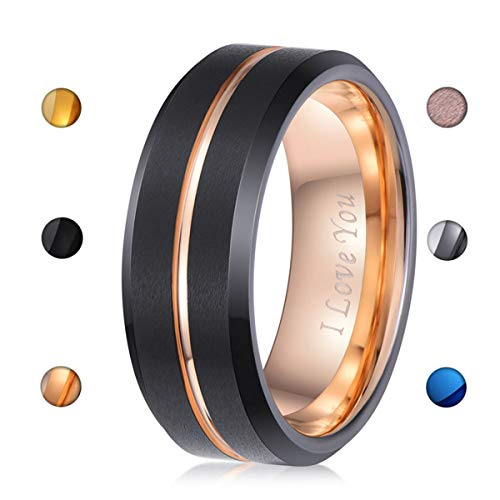 LaurieCinya Black Tungsten Carbide Wedding Band Men Women 8mm Rose Gold Line Ring-Brushed Finish-Comfort Fit-Engraved I Love You