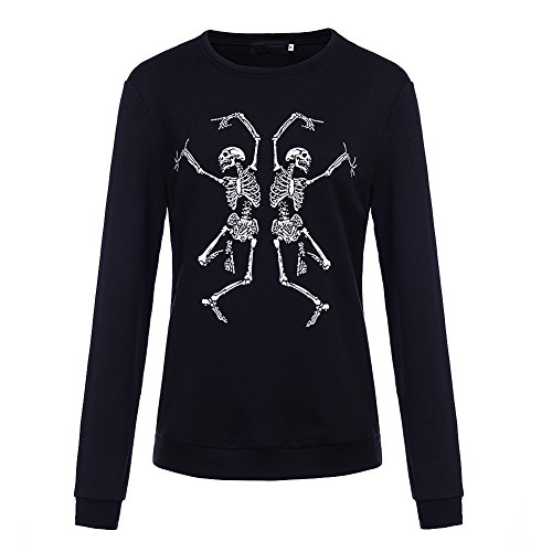Bangerdei Women's Two Dancing Skeletons Printed Pullover Sweatshirt Blouse for cheap