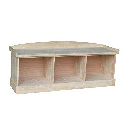 Unfinished Wood Storage Bench - International Concepts Bench with Storage