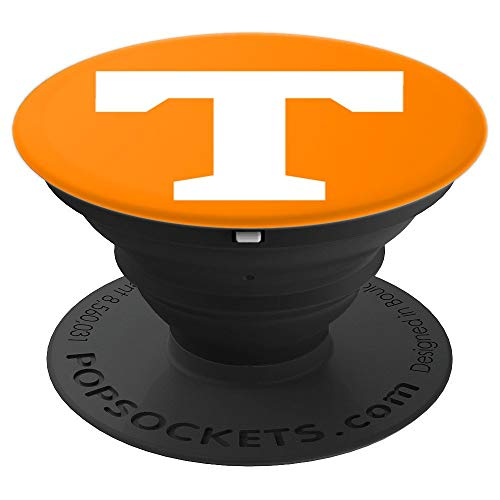 (PopSockets: Letter T Tennessee State TN Pride Orange White - PopSockets Grip and Stand for Phones and Tablets)