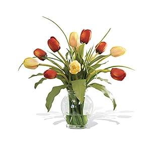 Mixed Tulip Silk Flower Arrangement - Red/Yellow 8