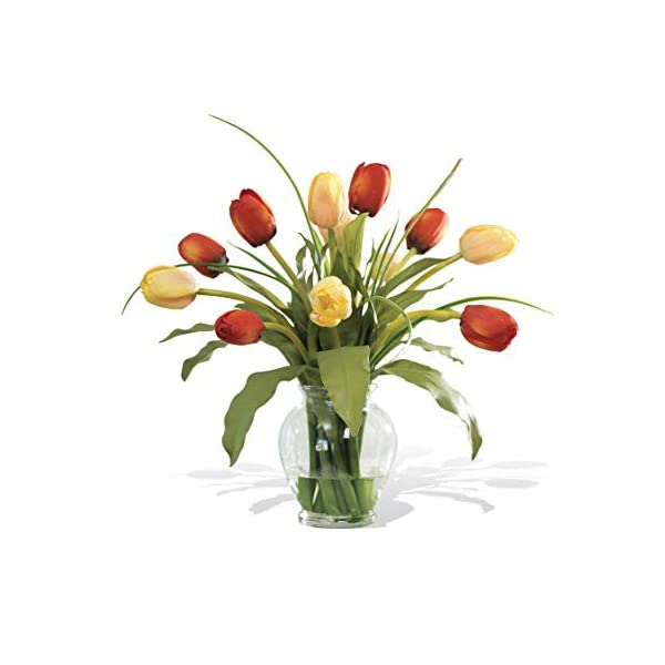 Petals – Mixed Tulip Silk Flower Arrangement – Handcrafted – Amazingly Lifelike – 12 x 12 Inches (Red/Yellow)