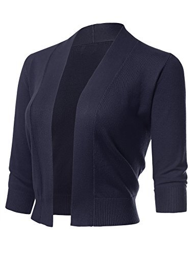 (ARC Studio Women's Classic 3/4 Sleeve Open Front Cropped Cardigans (S-XL) M Navy)