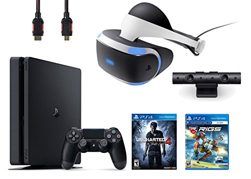 PlayStation VR Bundle 4 Items:VR Headset,Playstation Camera,PlayStation 4 Slim 500GB Console – Uncharted 4,VR Game Disc RIGS Mechanized Combat League