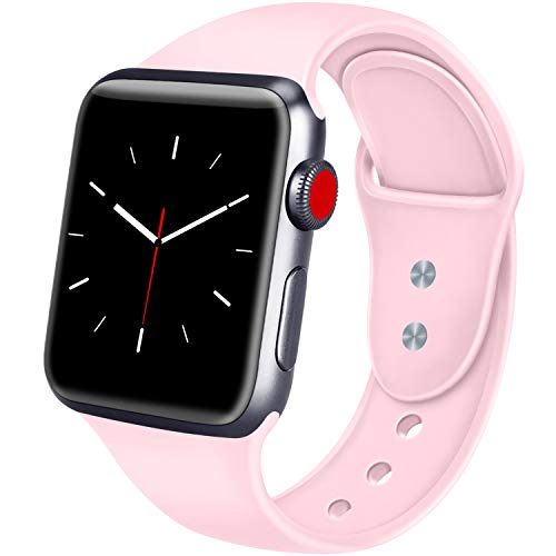 ATUP Sport Band Compatible with Apple Watch 38mm 40mm 42mm 44mm Women Men, Soft Silicone Replacement Bands for iWatch Apple Watch Series 4, Series 3, Series 2, Series 1 (Pink, 38mm/40mm-S/M)