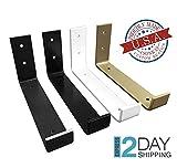 Color Hook Shelf Brackets, Black, White, Gold, Brass Powder Coat Shelve Brackets, Industrial Shelf Bracket, Modern Shelf