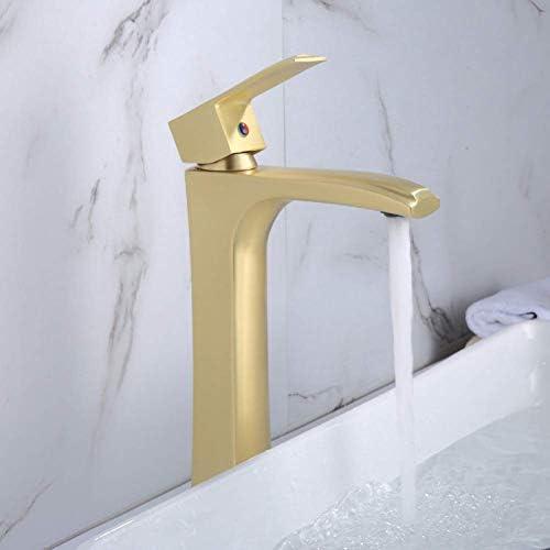 DXX-HR 水タップシングルハンドルの蛇口シンク浴室の蛇口つや消しゴールデン浴室の洗面台の蛇口洗面シンクの蛇口洗面器のミキサー冷温水タップ