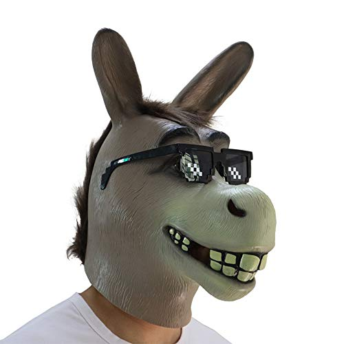MostaShow Shrek Mask Halloween Adult Party Costume Funny Donkey Horse Head Latex Animal Mask -