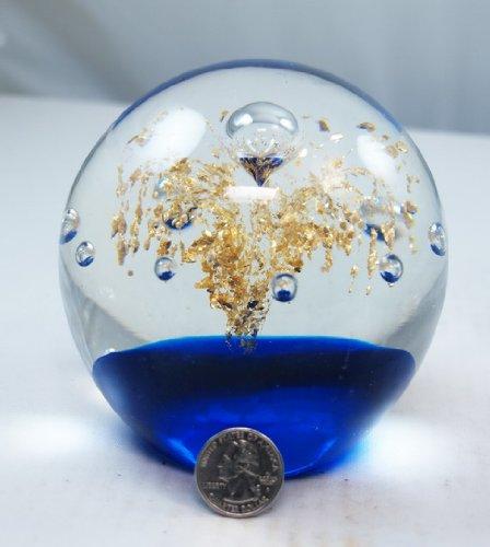 M Design Art Handcraft Gold Underwater Fireworks Blue Bottom Paperweight PW-696 [Kitchen]