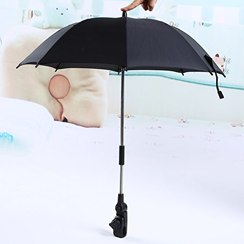 Yosoo Wheelchair Pushchair Baby Stroller Umbrella and Holder Parasol UV Rays Rain Sun CanopyBlack