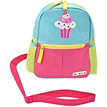 Alphabetz Cupcake Toddler Backpack With Leash, Pink, blue, Yellow, Green, Universal Size For Girl