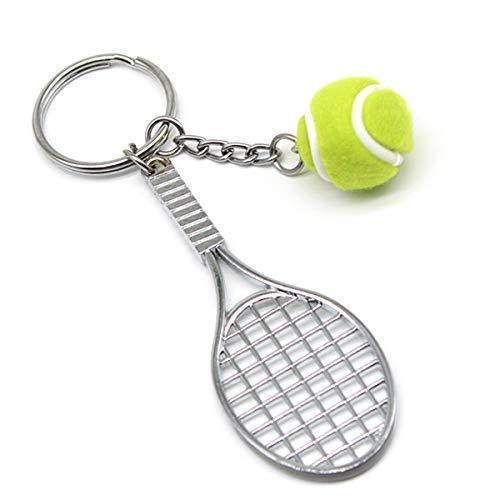 URDEAR Mini Cute Tennis Ball Racket Keychain Metal Sports Tennis Ball Keyring Perfect Gifts for Men -
