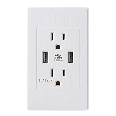 IMES 4.2 Amp Smart High Speed Dual USB Receptacle Charger Wall 15A 125V USB Outlets Socket Tamper Resistant Outlet and Free Wall Plate, UL Listed ?Tree Pattern?