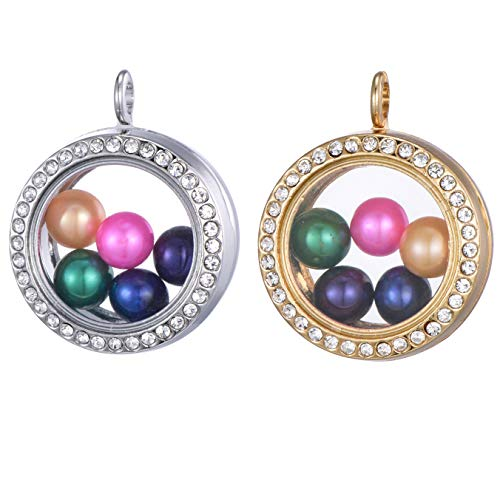 2pcs Stainless Steel Tone and Gold Tone Alloy Glass Pearl Cage Charm Pendant 30mm Pearl Living Memory Floating Locket for DIY Necklace Jewelry Making