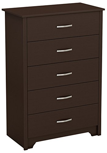 South Shore Fusion 5-Drawer Dresser, Chocolate with Grooved Metal Handles