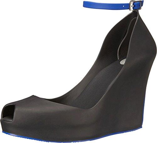 6369d7d667 Melissa Women's Patchuli Matte Wedge Platform Sandals Black/Cobalt 9 ...