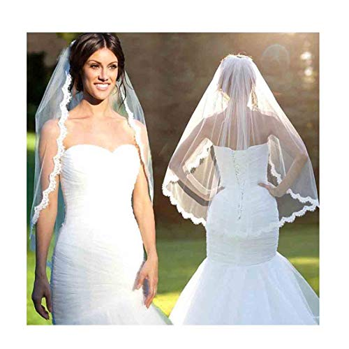 Olbye Women's Wedding Veil With Comb Fingertip Length Bridal Veil 1T 1 Layer Embroidered Lace Veil for Bride White (White) ()