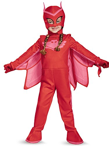 Owlette Deluxe Toddler PJ Masks Jumpsuit with Attached Boot Covers, (Pj Masks Owlette Halloween Costume)