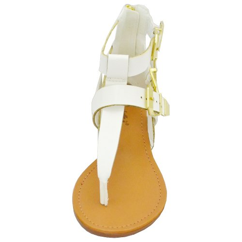 Breckelle Women's Vivian-33 Flat Sandals, White