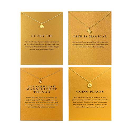 QXFQJT Friendship Elephant Unicorn Sun Compass Necklace for Girl Women