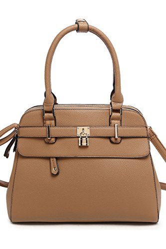 Lcolette Solid Center Key And Front Zipper Accented Satchel Bag With Strap Dh022 (taupe)