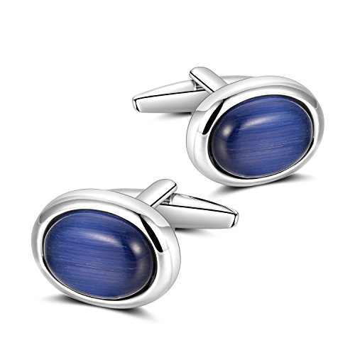 (Anfly Mens Elegant Style Cuff Link Super Shiny Navy Blue Sapphire Circular Cufflinks)