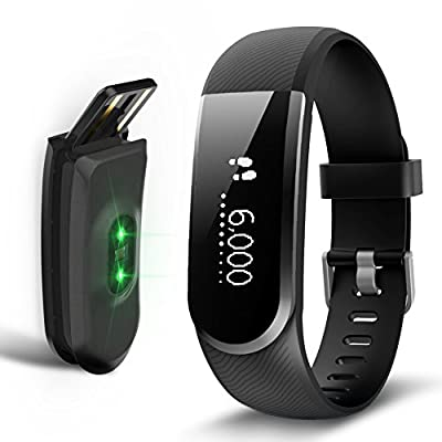 Sizet Fitness Tracker Heart Rate Monitor Smart Bracelet Activity Tracker Fitness Health Smart watch Wristband Bluetooth Pedometer Alarm Clock Remind Remote Take Photo for Android/iOS Smart Phones
