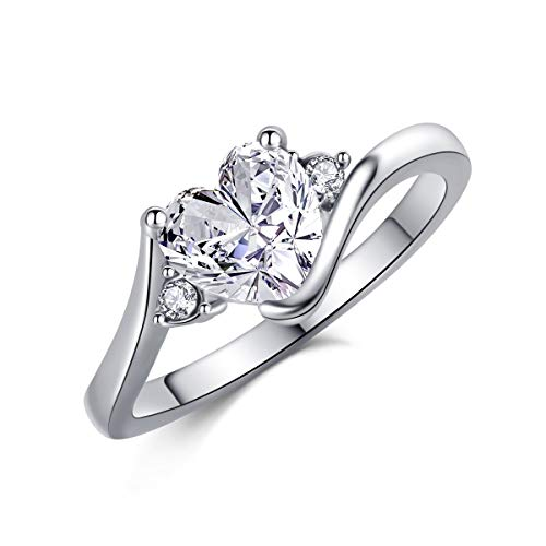 SR Womens 18k White Gold Platinum-Plated Sparkling Heart Love Cubic-Zirconia Wedding Engagement CZ Rings Valentine