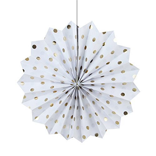 SUNBEAUTY Pack of 3 Tissue Paper Fans Collection Gold Dot Paper Fans Hanging Party Fans Decorations (White)