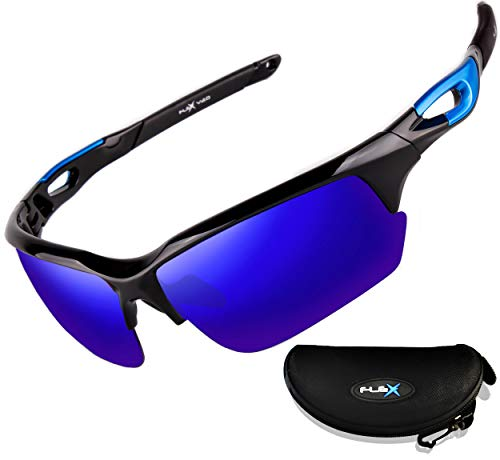 FLEX v2 – Polarized Sunglasses for Men or Women, Ultra Tough & Lightweight TR90 Frame with UV 400 HD protection lens, Sports Sunglasses for Baseball Cycling Running Driving Ski Fishing (Mirrored Blue) ()