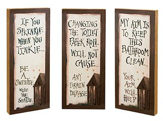 Outhouse Etiquette Wood Signs - Set of 3]()