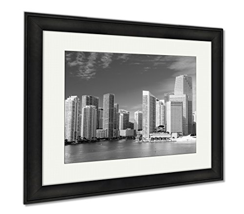 Ashley Framed Prints Miami Seascape With Skyscrapers In Bayside, Wall Art Home Decoration, Black/White, 26x30 (frame size), Black Frame, - Beach Miami Bayside