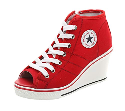 High-Heeled Wedges Sneakers Women, Fashion Lace-up Platform Canvas Sandals Shoes 2 Kinds 4 Colors (US 9.5, Star Peep-Toe Red)