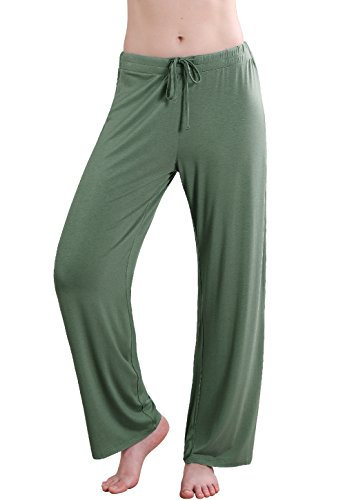 Woman Knit Dressing - Vislivin Women's Stretch Knit Pajama Pants Modal Sleep Pant Green Wide S