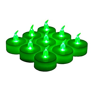 LANKER 24 Pack LED Tea Lights Candles – Flickering Flameless Tealight Candle – Long Lasting Battery Operated Fake Candles – Decoration for Wedding, Halloween and Christmas (Green - 24pcs): Home Improvement